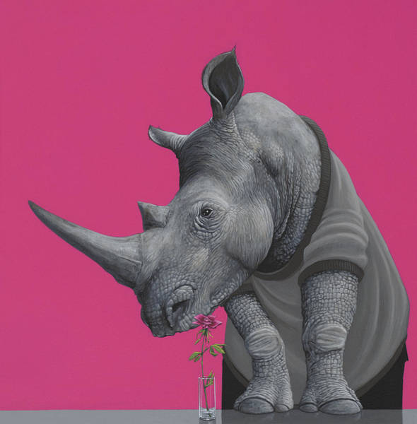 Humour Painting - Rhino by Jasper Oostland