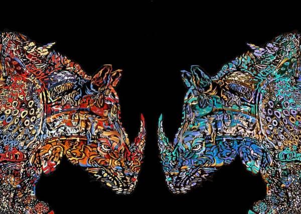 Mixed Media - Rhino Love Organica by Carol Cavalaris