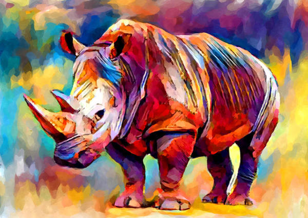 Wall Art - Painting - Rhinoceros by Chris Butler
