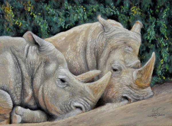 Painting - Rhinos by Sam Davis Johnson