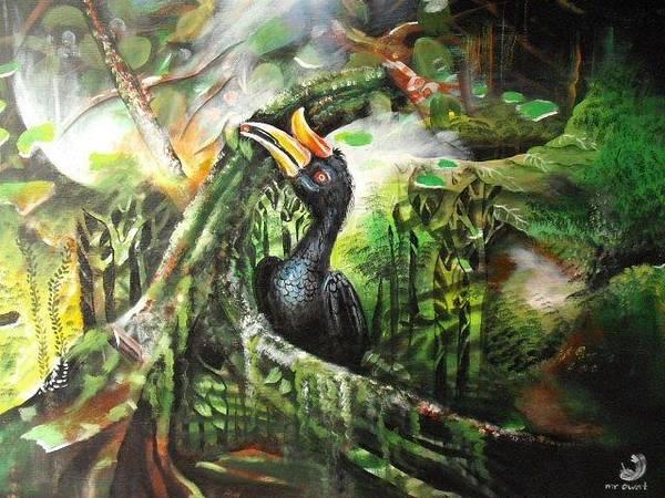 Hornbill Painting - Rhinoscerous Hornbill by Muyang Kumundan