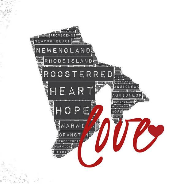 Rhode Island Digital Art - Rhode Island Love by Brandi Fitzgerald