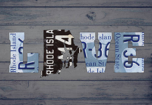 Island Mixed Media - Rhode Island State Love License Plate Art Phrase by Design Turnpike