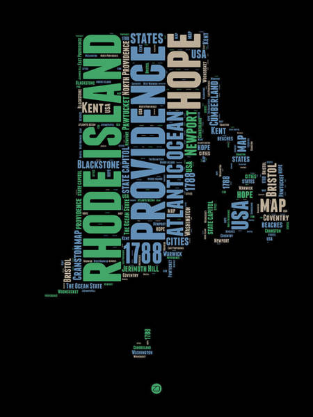 Map Art Mixed Media - Rhode Island Word Cloud 2 by Naxart Studio