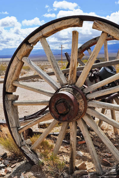 Photograph - Rhyolite Ghost Town Carriage Wheel by Kyle Hanson