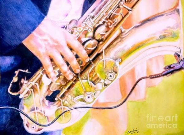 Sax Painting - Rhythmic Blues by Chapi Dee