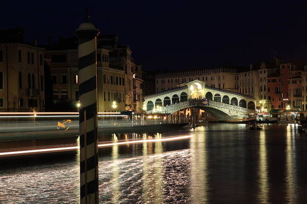 Wall Art - Photograph - Rialto Bridge In Venice At Night With Boat Trail by Michael Henderson