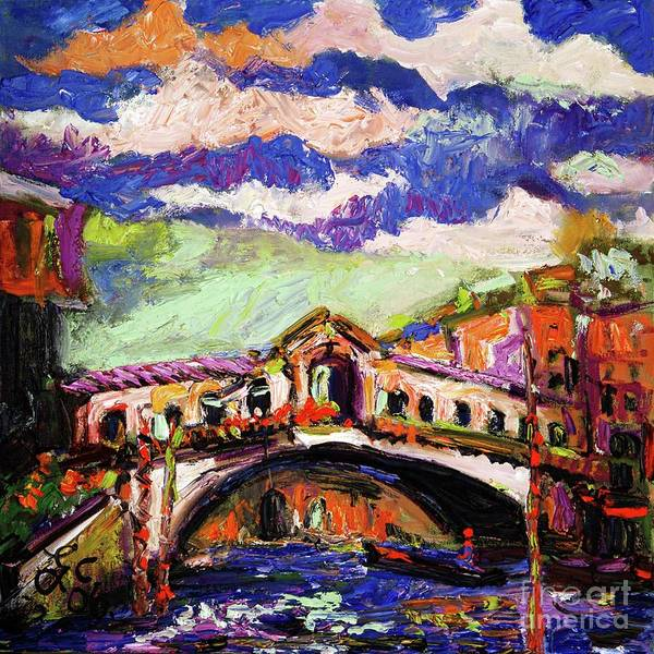 Painting - Rialto Bridge Venice Oil Painting by Ginette Callaway