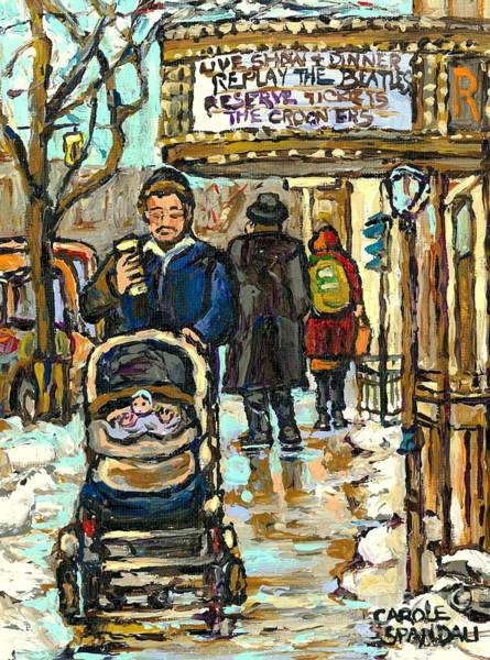 Klezmer Band Wall Art - Painting - Rialto Theatre Beatles Marquee Cell Phone Man Baby Carriage Winter  Park Ave Montreal Carole Spandau by Carole Spandau