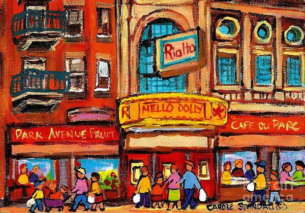Painting - Rialto Theatre Vintage Landmark Cinema Montreal Historic Scene Canadian Art Carole Spandau by Carole Spandau