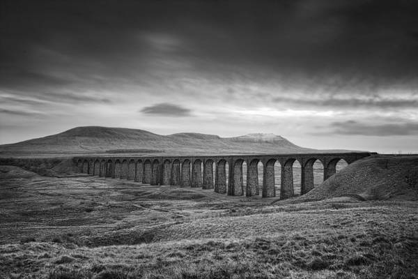 Mono Photograph - Ribblehead Viaduct Uk by Ian Barber