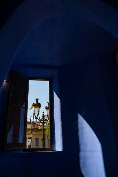 Photograph - Rich Blues And Purples - Through The Window Of Antoni Gaudi Gatekeepers House In Park Guell by Georgia Mizuleva