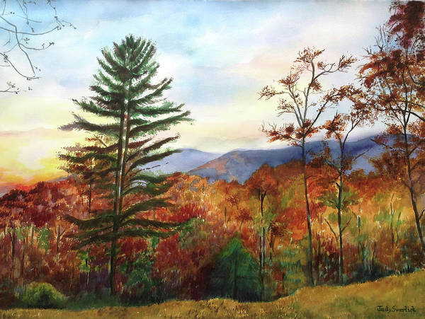 Wall Art - Painting - Rich Mountain Wilderness, Georgia In Autumn by Judy Swerlick