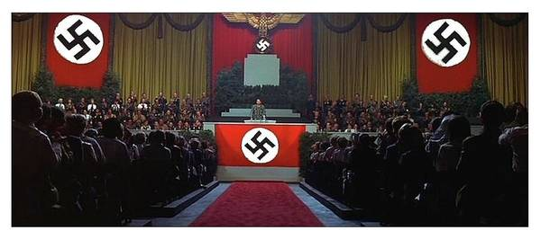 Addressing Photograph - Richard Basehart As Hitler Addressing An Audience In Film Hitler 1962 Color Added 2016 by David Lee Guss