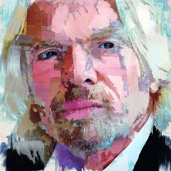 Virgin Digital Art - Richard Branson Portrait by Yury Malkov