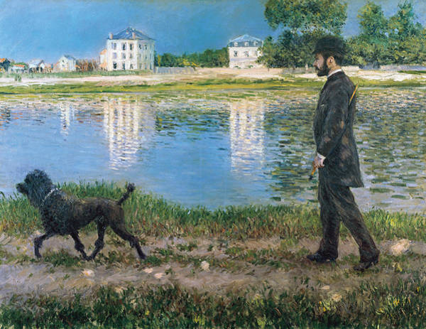 Painting - Richard Gallo And His Dog At Petit Gennevilliers by Gustave Caillebotte