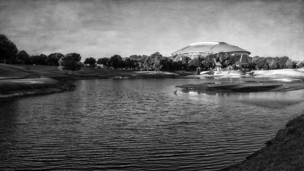 Photograph - Richard Greene Linear Park And Att Stadium Bw by Joan Carroll