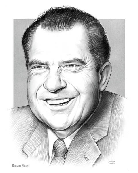 U. S. Presidents Wall Art - Drawing - Richard Nixon by Greg Joens