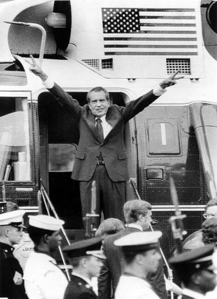 Everett Photograph - Richard Nixon Waves With Both Arms by Everett
