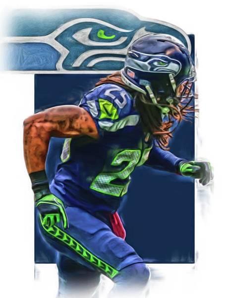 Seattle Seahawks Wall Art - Mixed Media - Richard Sherman Seattle Seahawks Oil Art by Joe Hamilton