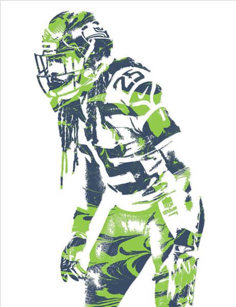Wall Art - Mixed Media - Richard Sherman Seattle Seahawks Pixel Art 10 by Joe Hamilton