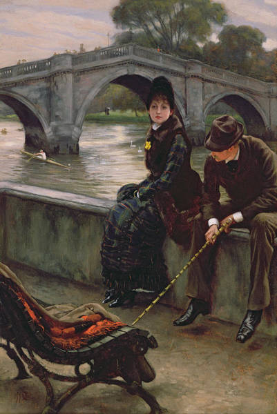 Cane Painting - Richmond Bridge by James Jacques Joseph Tissot