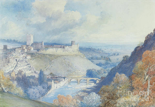 Richmond Bridge Wall Art - Painting - Richmond Castle And Town, Yorkshire  by William Callow