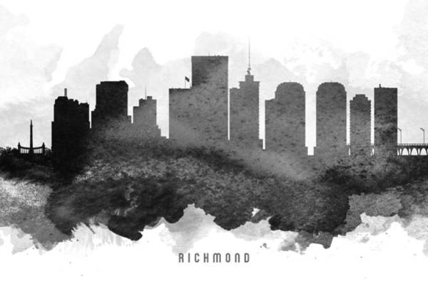 Richmond Virginia Wall Art - Painting - Richmond Cityscape 11 by Aged Pixel