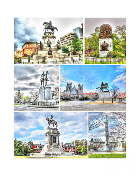 Us Civil War Digital Art - Richmond Va Virginia - Monuments Collage by Dave Lynch