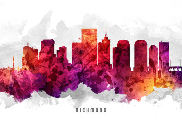 Richmond Virginia Wall Art - Painting - Richmond Virginia Cityscape 14 by Aged Pixel