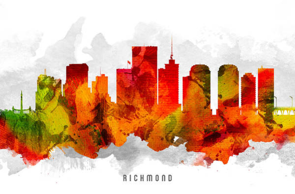 Richmond Virginia Wall Art - Painting - Richmond Virginia Cityscape 15 by Aged Pixel