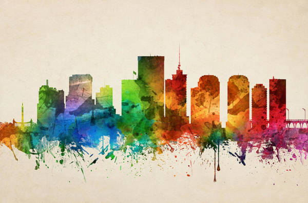 Richmond Virginia Wall Art - Painting - Richmond Virginia Skyline 05 by Aged Pixel