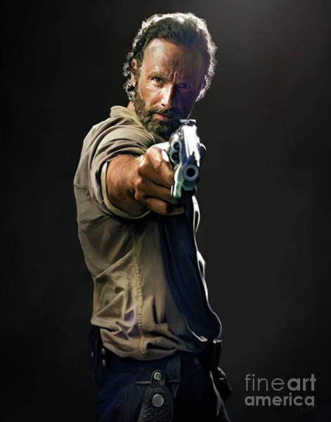 Undead Wall Art - Painting - Rick Grimes  by Paul Tagliamonte