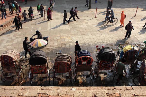 Photograph - Rickshaw Taxis In Durbar Square Kathmandu by Aidan Moran