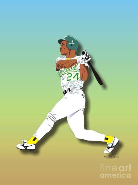 Digital Art - Ricky Henderson by Walter Neal