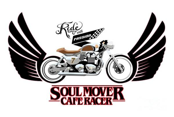 Wings Painting - Ride With Passion Cafe Racer by Sassan Filsoof