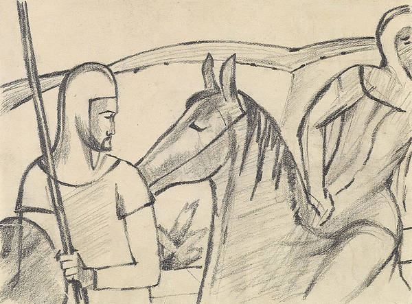 Drawing - Rider And Horse by August Macke