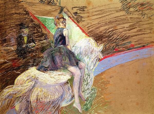 Dressage Wall Art - Pastel - Rider On A White Horse by Henri de Toulouse Lautrec