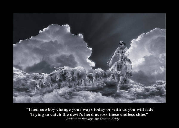 Riders In The Sky Bw Art Print