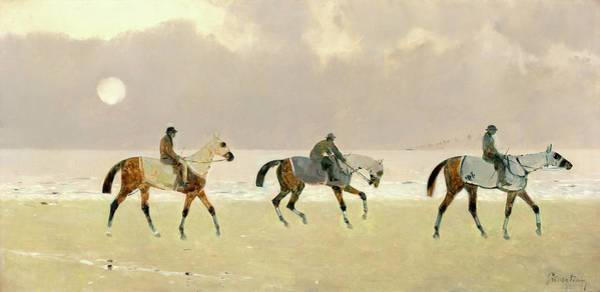 Painting - Riders On The Beach At Dieppe by Rene Pierre Charles Princeteau