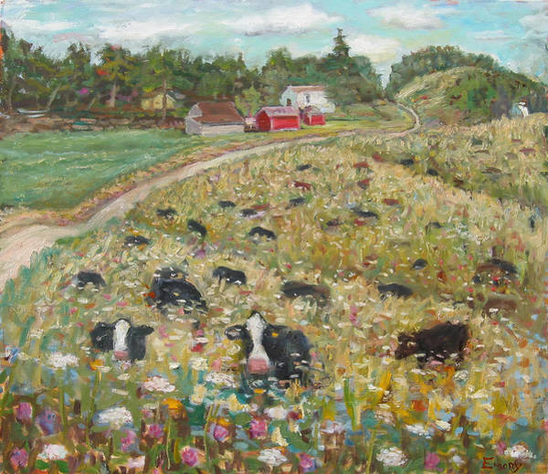 Painting - Ridge Road Cows by Paul Emory