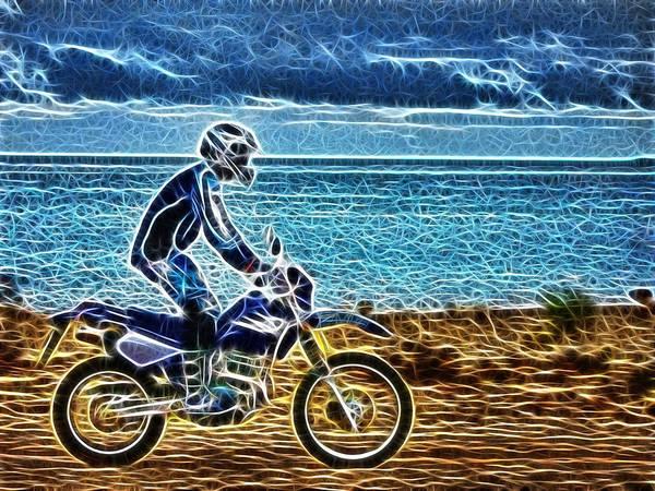 Dirt Bike Photograph - Riding Along The Foreshore by Douglas Barnard