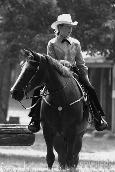 Photograph - Riding At Foothills Black And White by Angela Rath