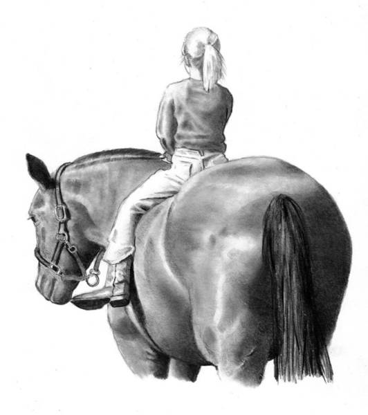 Wall Art - Drawing - Riding Bareback No. 2 by Joyce Geleynse