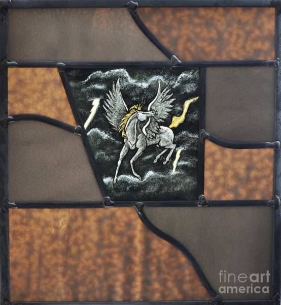Leaded Glass Painting - Riding The Storm by Valerie Lynn