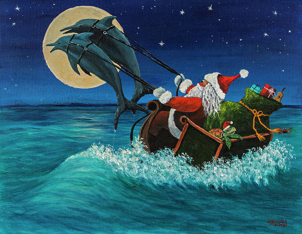 Painting - Riding The Waves With Santa by Darice Machel McGuire