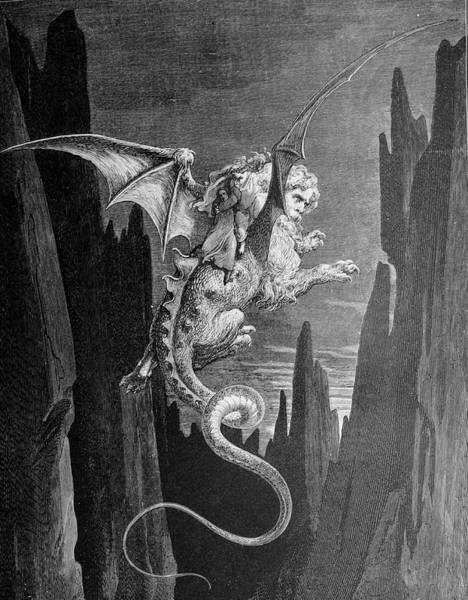 Charcoal Drawing Photograph - Riding The Winged Devil by Douglas Barnett