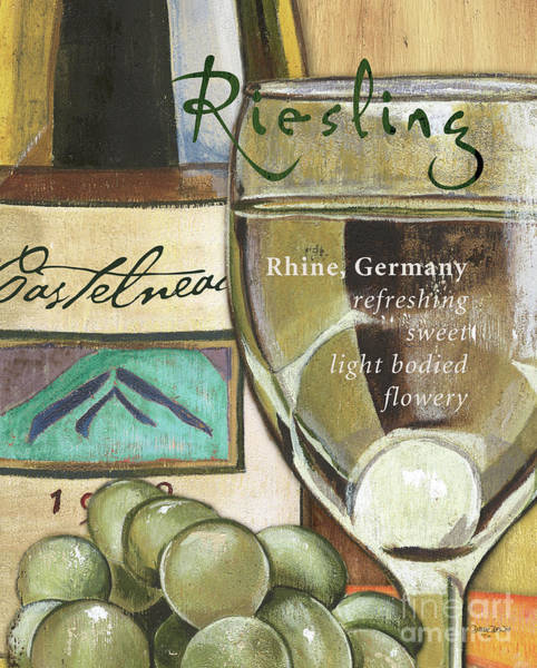 Cellar Wall Art - Painting - Riesling Wine by Debbie DeWitt