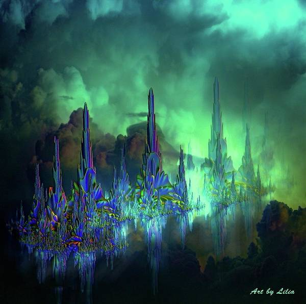 Aqua Tower Digital Art - Riffs In The Sky by Lilia D