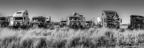 Wall Art - Photograph - Rig Graveyard Along Route 66 Bw by Twenty Two North Photography